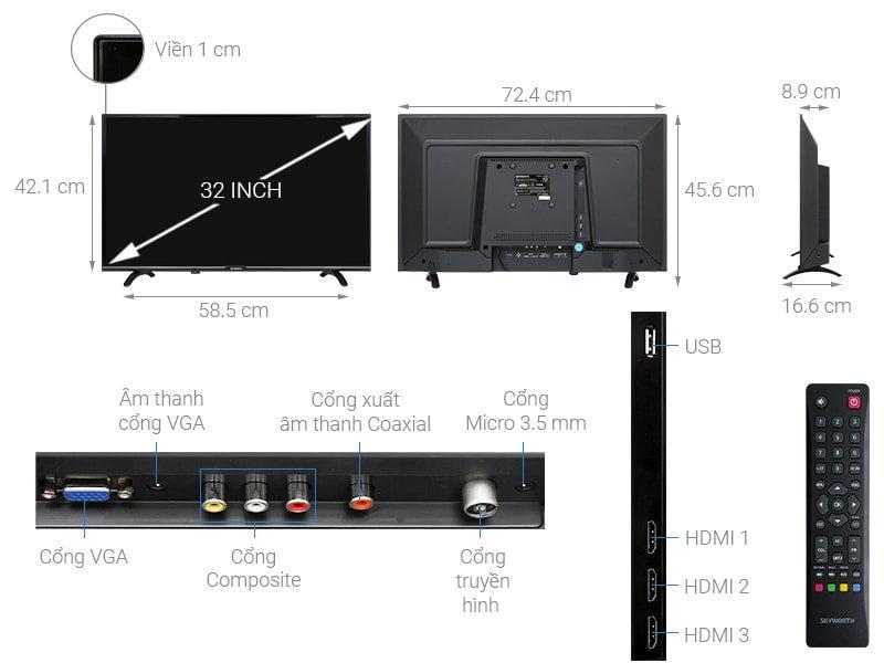 Tivi LED Skyworth 32inch HD – Đen