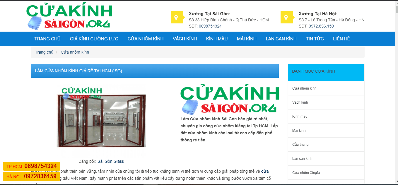 cửa nhôm xingfa Sài Gòn