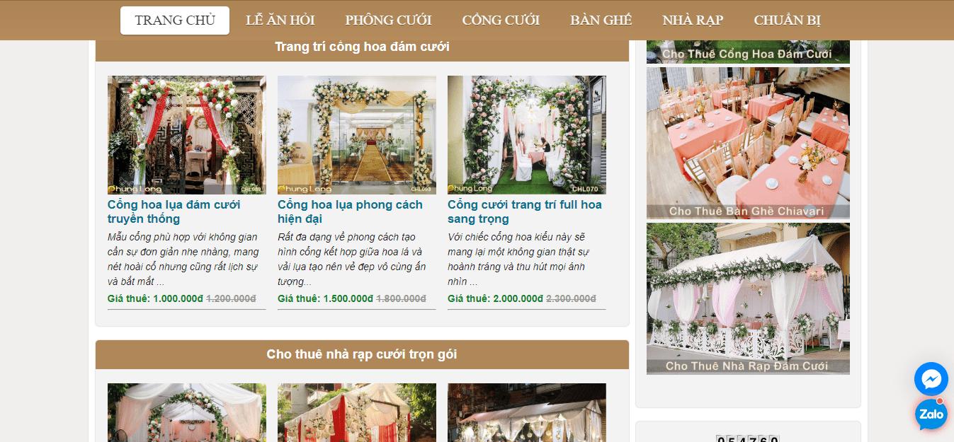 dịch vụ trang trí tiệc cưới hà nội