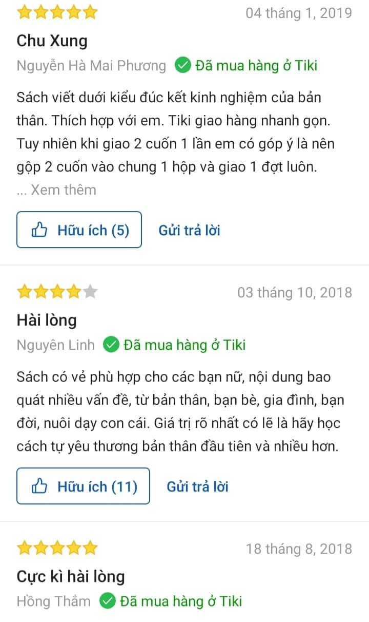 Phản hồi của độc giả trên Tiki