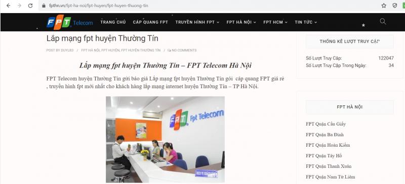 Dịch vụ lắp mạng FPT Thường Tín