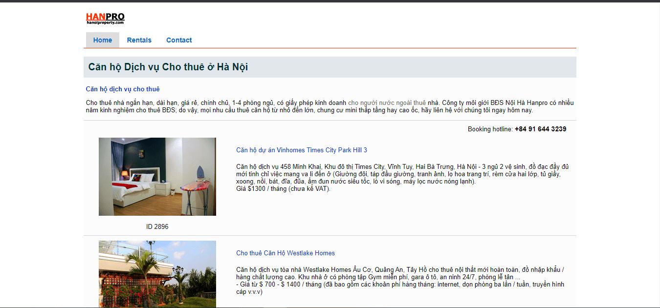 thuê chung cư ngắn hạn tại Hà Nội