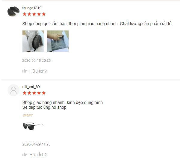 Phản hồi của khách hàng về sản phẩm Kính Phân Cực Thời Trang AORON 387