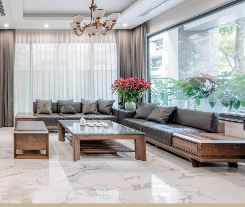 mẫu bộ bàn ghế gỗ phòng khách