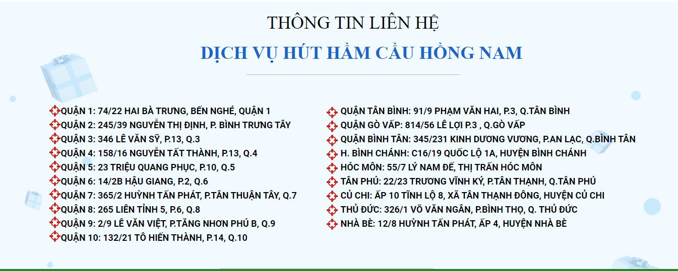 thông nghẹt cống TPHCM Hồng Nam