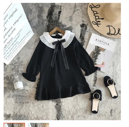 Váy đầm đen ren cổ