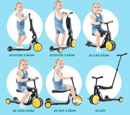 Xe chòi chân 5 trong 1 cho bé 3 tuổi