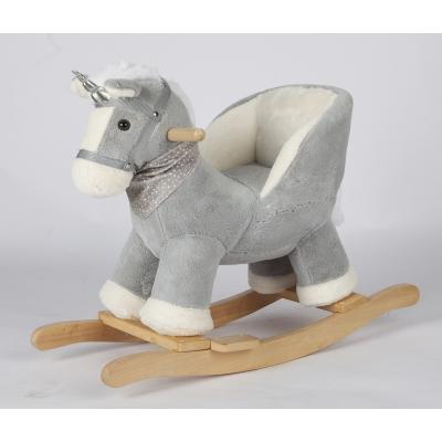 Đồ Chơi Ngựa Gỗ Bập Bênh Nhồi Bông, Có Dựa Lưng