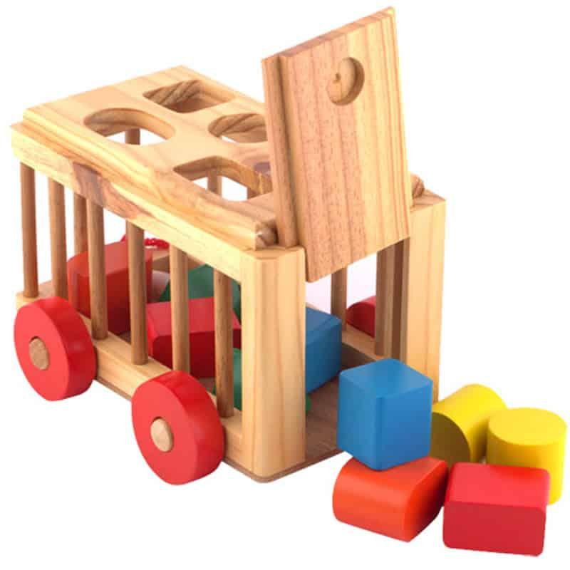 Đồ chơi xe thả khối hình 3D bằng gỗ