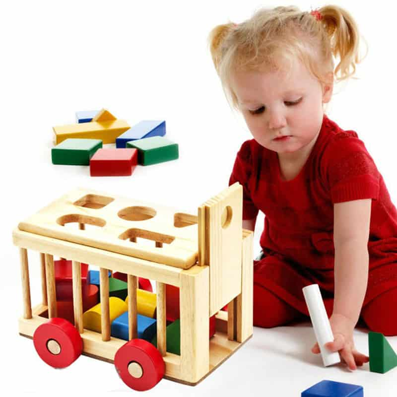 Đồ chơi xe thả hình khối bằng gỗ 3D