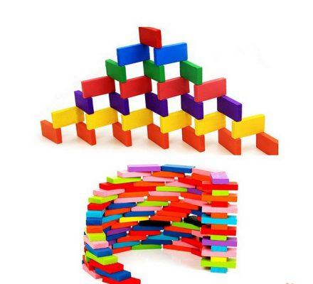 Đồ Chơi Xếp Hình Sáng Tạo Domino Gồm 120 Thanh Gỗ Màu Sắc