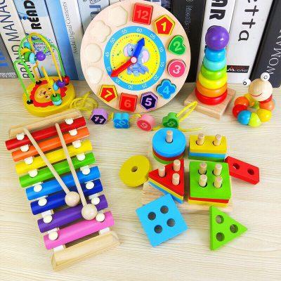 Combo 6 món đồ chơi bằng gỗ cho bé phát triển trí tuệ